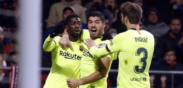 Jugadores del FC Barcelona celebran un gol / Barcelona