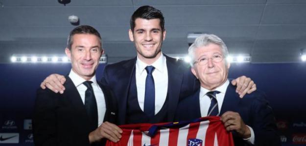 Berta, Morata y Cerezo, en la presentación del delantero / Atlético de Madrid.