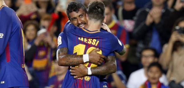 Paulinho, con Messi (FC Barcelona)