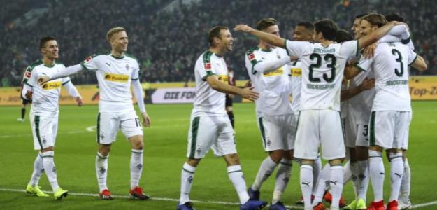 Los jugadores del Gladbach celebrando un gol. / mibundesliga.com