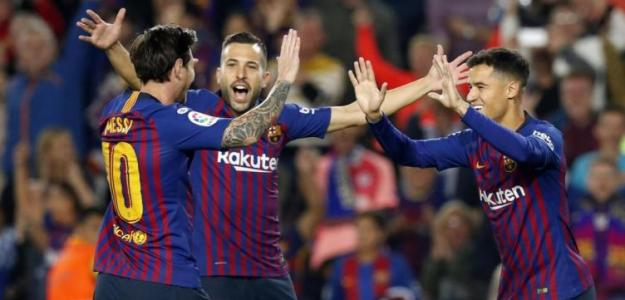 Messi, Jordi Alba y Coutinho celebran un gol / FC Barcelona