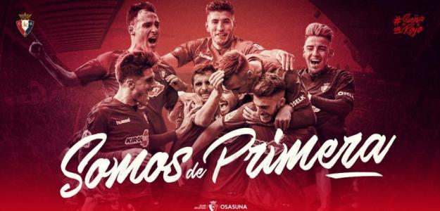 El cartel con el que Osasuna ha celebrado el ascenso (CA Osasuna)