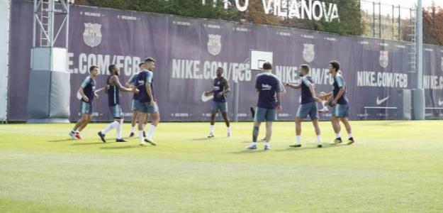 Los jugadores del Barça, durante un entreno (FC Barcelona)