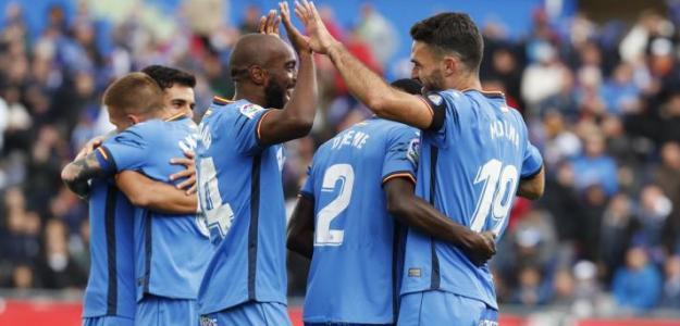 Los jugadores, celebrando un gol (Getafe CF)