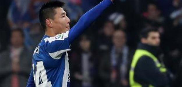 Wu Lei, durante su debut en el RCD Stadium (Espanyol)