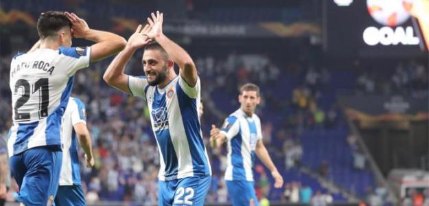 El Espanyol celebra el gol del empate ante el Ferencvarosi. / rcdespanyol.com