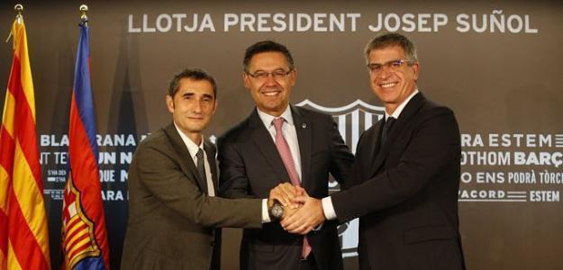 Ernesto Valverde, Josep María Bartomeu y Jordi Mestre, en las instalaciones del FC Barcelona.