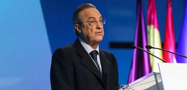 Florentino Pérez, en una comparecencia ante los medios / realmadrid.com.