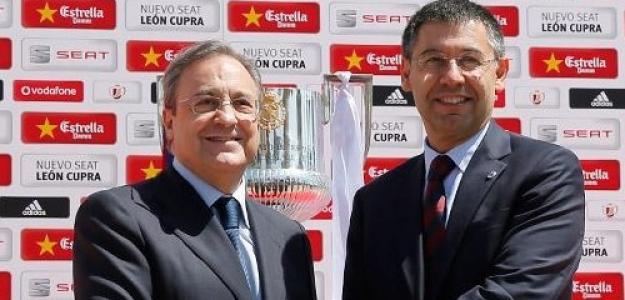 Florentino Pérez junto a Josep María Bartomeu. Foto: Besoccer.com