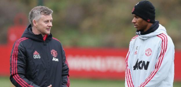 Solskjaer y Rashford, en un entreno (Manchester United)