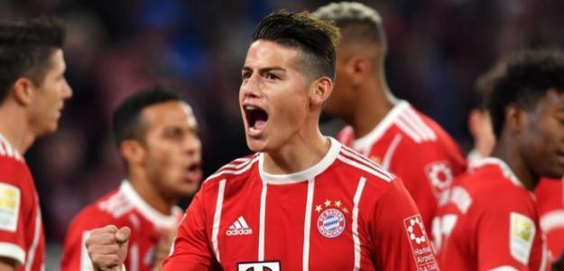 James Rodríguez, celebrando un gol con el Bayern / FCBayern.com.