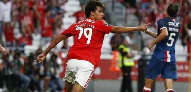 Félix celebra un gol con 'Las Águilas' (SL Benfica)