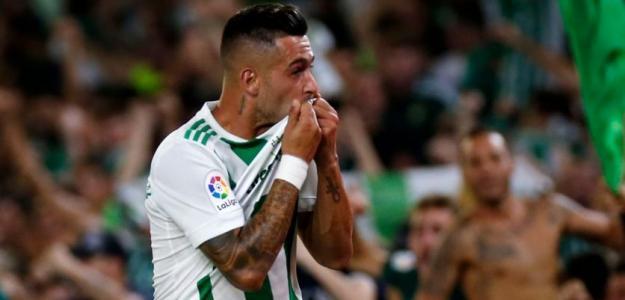 Sergio León celebra un gol con el conjunto bético (Real Betis)