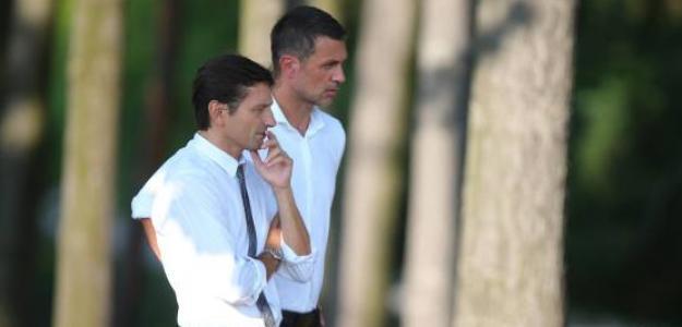 Leonardo y Paolo Maldini durante un entrenamiento del primer equipo. Foto: ACMilan.com