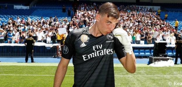 Lunin en su presentación / Real Madrid