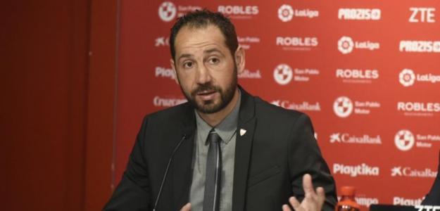 Pablo Machín en rueda de prensa / Sevilla