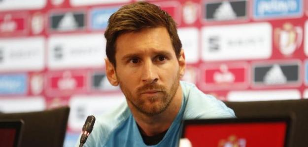 Messi en una rueda de prensa. / fcbarcelona.es