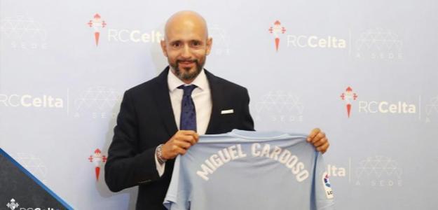 Miguel Cardoso en su presentación con el Celta. Foto: RCCelta.es