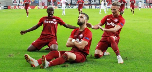 Munas Dabbur celebrando un gol con el RB Salzburg. Foto: RBLive.de