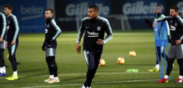 Jeison Murillo durante un entrenamiento con el Barcelona / FC Barcelona