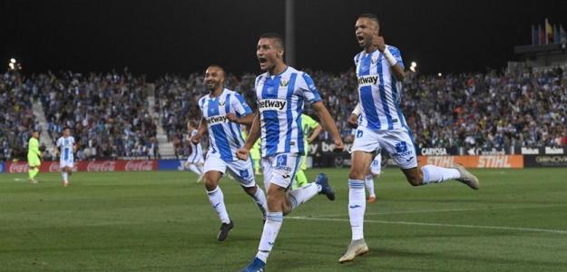 Óscar Rodríguez celebra su gol marcado ante el Barcelona / CD Leganés