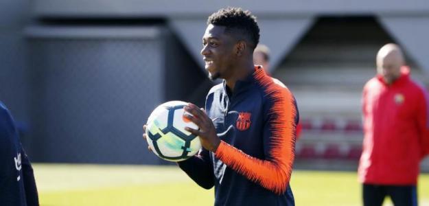 Ousmane Dembélé, durante un entrenamiento con el Barça. Foto: FCBarcelona.es