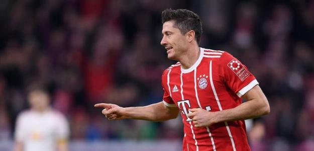 Robert Lewandowski celebrando un gol con el Bayern. Foto: FCBayern.com