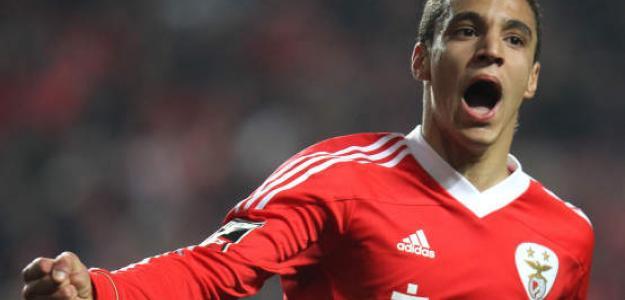 Rodrigo Moreno celebra un gol con la camiseta del Benfica