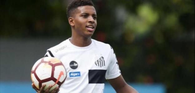 Rodrygo, en un partido del Santos / Youtube.