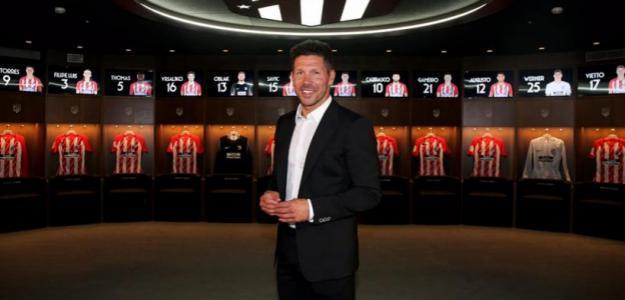 Diego Simeone, en el vestuario del Wanda Metropolitano / Atlético de Madrid.