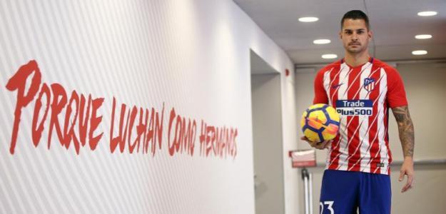 Vitolo Machín en su presentación con el Atlético. Foto: Atleticodemadrid.com