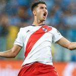 Exequiel Palacios, celebrando un gol con River (Getty)