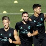 Llorente, Carvajal y Asensio, durante un entrenamiento (EFE)