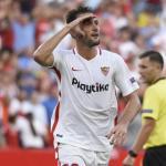 Vázquez, celebrando un gol (Sevilla FC)