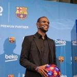 Abidal en un acto del club / Barça