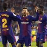 Semedo, Messi y Dembélé (Inquirer)
