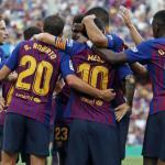 Los jugadores del Barcelona celebran un gol durante un encuentro en el Camp Nou / FC Barcelona