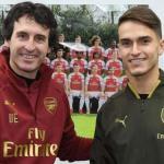 Unai Emery y Denis Suárez, tras la llegada del jugador al Arsenal / AFC.
