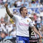 Jorge Pombo celebra un gol / Real Zaragoza.