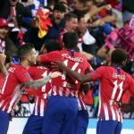 Los jugadores del Atlético, celebrando un gol (Atlético de Madrid)