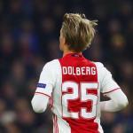 Kasper Dolberg en un partido con el Ajax / Getty