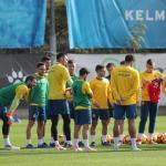 Los jugadores pericos, durante un entrenamiento (RCD Espanyol)