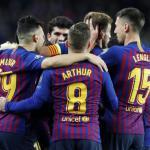 Los jugadores del Barça, celebrando el gol de hoy (FC Barcelona)