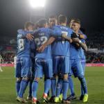 Los jugadores azulones, celebrando uno de los goles (Getafe CF)