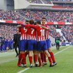 Los jugadores rojiblancos, celebrando un gol (Atlético de Madrid)