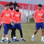 Morata, con sus nuevos compañeros (Atlético de Madrid)