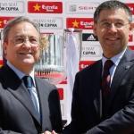 Florentino Pérez y Josep María Bartomeu ante los medios de comunicación. Foto: Besoccer