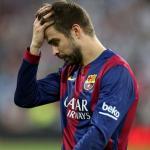 Piqué, durantre un partido (FC Barcelona)