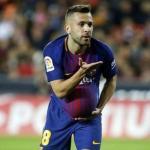 Jordi Alba dedicando un gol a su pareja (FC Barcelona)