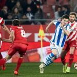 Jugadores del Girona durante el encuentro ante la Real Sociedad / LaLiga